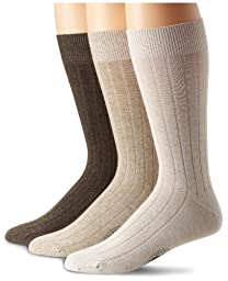 Tommy Bahama Men\'s Cayman Casual Crew 3-Pack Sock, Khaki, One Size