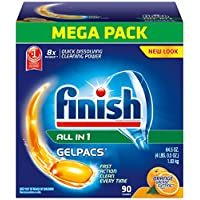 Finish Gelpacs Dishwasher Detergent, Orange Scent, 90 Count (Packaging may vary)