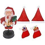 Pragati Pro Christmas Decoration Musical Santa With 2 Santa Caps And 2 Christmas Socks