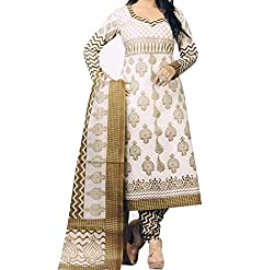 White Mango Color Cotton Printed Dress Material