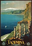 TW12 Vintage 1927 Taormina Sicily Italian Italy Travel Poster Re-Print - A4 (297 x 210mm) 11.7