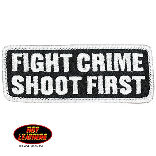 """Hot Leathers, FIGHT CRIME SHOOT FIRST, Premium Quality Iron-On / Saw-On, Heat Sealed Backing Rayon PATCH - 4"""" x 2"""""""