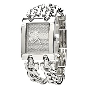 GUESS Women's W80048L1 Rectangular Stainless-Steel Case Silver Dial Watch