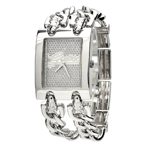 Guess Mod Heavy Metal Women's Quartz Watch with Silver Dial Analogue Display and Silver Stainless Steel Strap W80048L1