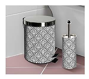 Stainless steel black white damask bathroom for Bathroom bin and brush set