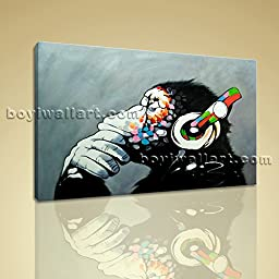 Picture Of Thinking Monkey With Headphone Large Wall Art Painting On Canvas 1 Panels Wall Art Inner Framed Ready To Hang by Bo Yi Gallery 36\