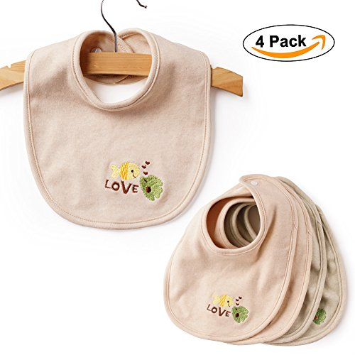 BABY MATE 4 PCS 100% Organic Non-Dyed Cotton Baby Bibs With Snaps - Infant Drool Bibs Burp Cloths - Baby Feeding...