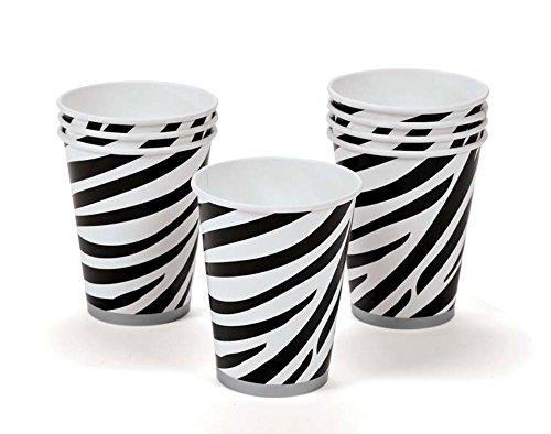 8 Zebra Stripe Paper Party Cups | Wild Animal Party Supplies Decoration