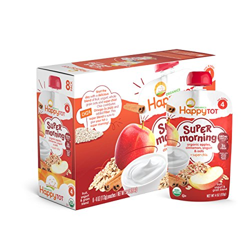 Happy Tot Organics Super Morning, Apple Cinnamon, Yogurt, & Oats + Super Chia, 4 oz (Pack of 8)