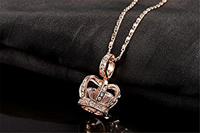 O4U Diamond Shape Crystal in the Luxurious Crown Gold Plated Pendant Necklace