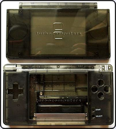 Smoke Black - Nintendo DS Lite Complete Full Housing Shell Case Replacement Repair w/ Hinge Set