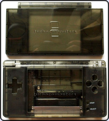 51WWP5AFgKL Cheap  Smoke Black   Nintendo DS Lite Complete Full Housing Shell Case Replacement Repair w/ Hinge Set