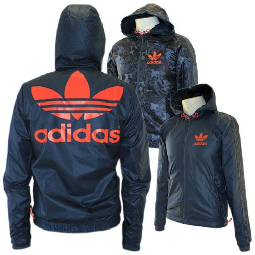 Adidas Originals Camo Reversible 2 in 1 Trefoil Windbreaker Camouflage Blue Jacket - Mens - S