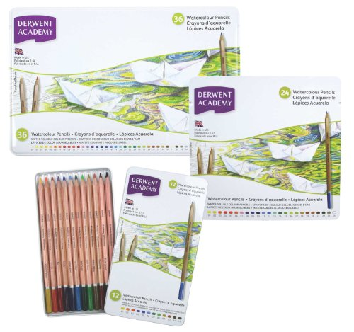 derwent academy watercolor pencils 3 3mm core metal tin 24 count 2301942 writing supply cente