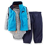 Carter's Baby Boys' 3-piece Microfleece Vest Set (3 Months, Turquoise)