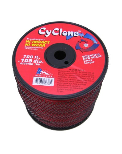 Cyclone .105-Inch 3-Pound Spool Commercial Grade 6-Blade Grass Trimmer Line, Red CY105S3-2