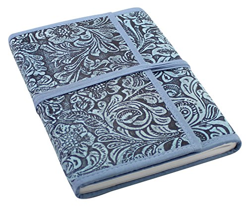 "Creoly A5 Handcrafted Blue Floral Embossed Leather Journal w/ Wrap Tie Closure (6"" x 8"")"