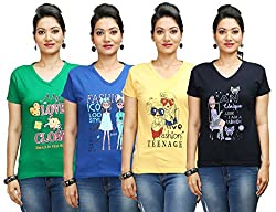 Flexicute Women's Printed V-Neck T-Shirt Combo Pack (Pack of 4)- Yellow, Pakistan Green, Navy Blue & Royal Blue Color. Sizes : S-32, M-34, L-36, XL-38