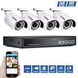 KAREye Surveillance Cameras System, 8CH 5-in-1 HDMI DVR System with 4x 1.0MB Bullet Security Cameras, Motion Detection and 100Feet IR Night Vision