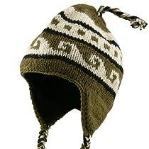 Bar Jaquard Knitting Beanie-Sage