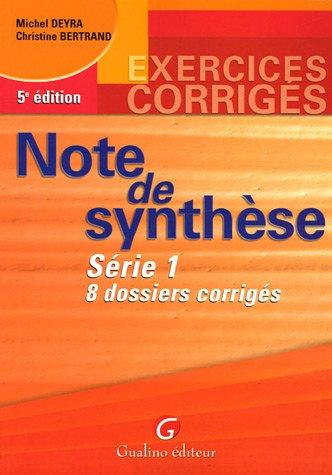 Note de synthèse : Série 1