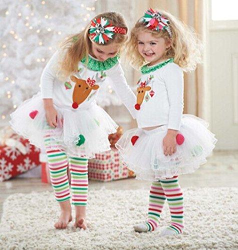 キッズ ベビー クリスマス コスチューム 長袖 Tシャツ パンツ セット トナカイ チュールスカート 女の子 子供 80㎝-120㎝ (90cm)