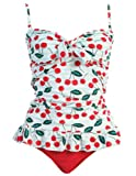 2 Piece Bandeau Tankini Swimsuit Set (Large, Cherry)