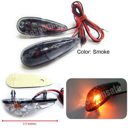 MIT Motors - SMOKE - Mini Universal Motorcycle Turn Signals Blinker Indicator - KAWASAKI NINJA 250 ZX6R ZX9R ZX10R ZX12R ZX14 ZZR 600 1400 - DUCATI MONSTER S2R 1000 S4R 600 750 800 900 (Ninja 250 Side Fairings compare prices)