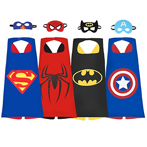 [DESIDERIO Superhero Dress Up Costumes Set 4 Satin Capes with Masks For Kids Party] (Dress Up Party Costumes)