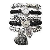 CAT HAMMILL  ( キャットハミル ) black heart bracelet set silver ハート LOVE チャーム ブレスレットセット  ブラック シルバー ブレスレット
