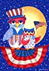 Patriotic Owls  Garden Size 12 Inch X 18 Inch Decorative Flag