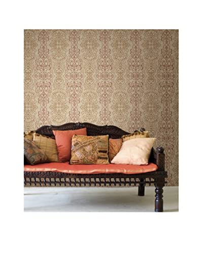 Brewster Mexuar Filigree Stripe Strippable Wallpaper, Copper
