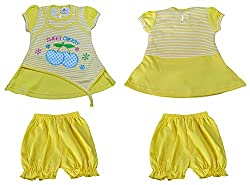 Amykids Baby Girls' Cap Sleeve Frock (2008-y, Yellow, 6 - 9 Months)