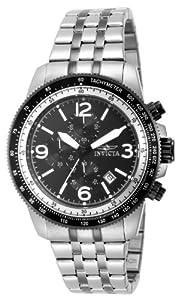 Invicta Invicta Specialty 15143 - Reloj cronógrafo de cuarzo para hombre, correa de acero inoxidable color plateado (agujas luminiscentes, cronómetro)