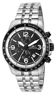 Invicta Men's Quartz Watch with Black Dial Chronograph Display and Silver Stainless Steel Bracelet 15143