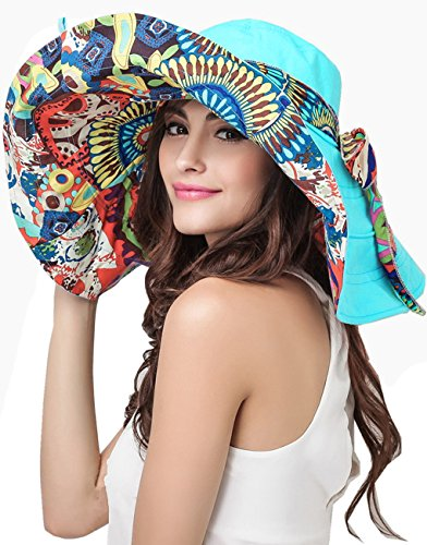 Womens-Foldable-Floppy-Reversible-Travel-Beach-Sun-Visor-Hat-Wide-Brim-UPF-50