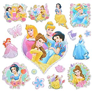 16 stk 3 d sticker disney princess aufkleber f r. Black Bedroom Furniture Sets. Home Design Ideas