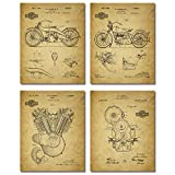 Harley Davidson Patent Wall Art Prints - Set of Four Photos