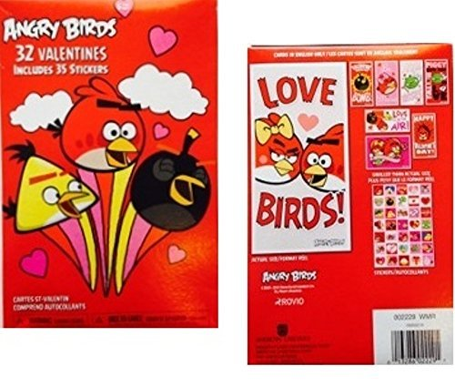 32 Angry Bird Valentines 35 Stickers