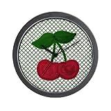 Lightweight Black Plastic Framed Red Cherries on Green and White Lattice Wall Art Clock 10