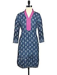 Unnati Silks Women Pracheen Kala Navy Blue Cotton Dabu Printed Kurta - B00WO8YAZC