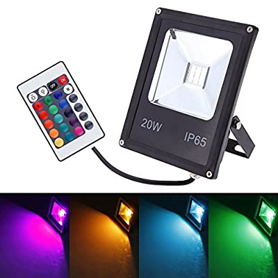 GLW Remote Control 10W RGB LED Flood Light,Outdoor Waterproof Security Colour Changing Light,16 Colours & 4 Modes,Memory Function Wall Washer Lamp