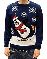 Novelty Christmas Jumper Sweater UK- Skating Penguin Royal Blue - Men Ladies Unisex - XS - XXXXL