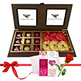 Valentine Chocholik's Premium Gifts - Nicely Wrapped Chocolates And Truffles With Love Card And Rose