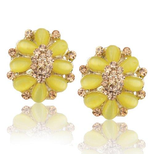 Ladies Teardrop Oval Floral Cat Eye Gem Rhinestone Golden Tone Stud Earrings B1751K