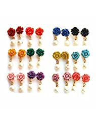 Nisa Pearls Multi Colour Synthetic Rose With Pearl Drop Earring Combo For Women