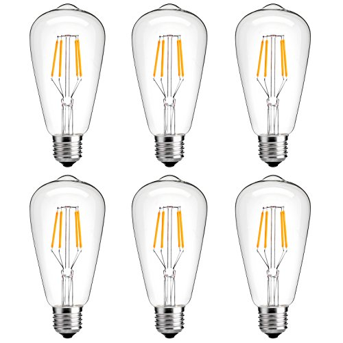 Antique LED Bulb, Oak Leaf 4w ST64 Vintage Edison Light Bulb LED Lighting Soft White 2700K pack of 6 0