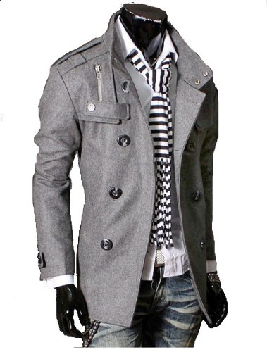 GL Fashions Men's Double Breasted Trench Coat/Jacket - Grey - L