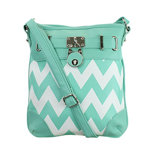 Mint & White Chevron Stripe Crossbody Bag Purse (Charming Charlie compare prices)