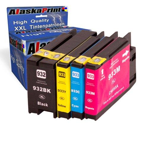 4x Druckerpatronen Ersatz für Hp 932 XL + 933 XL Original alaskaprint Tinte , 1x hp 932 black, 1.000 Seiten + 1x Hp 933 Cyan, 825 Seiten + 1x Hp 933 Magenta, 825 Seiten + 1x Hp 933 Gelb, 825 Seiten Ersatz für Hp CN053AE-56AE